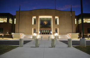 Newton Justice Center at Night