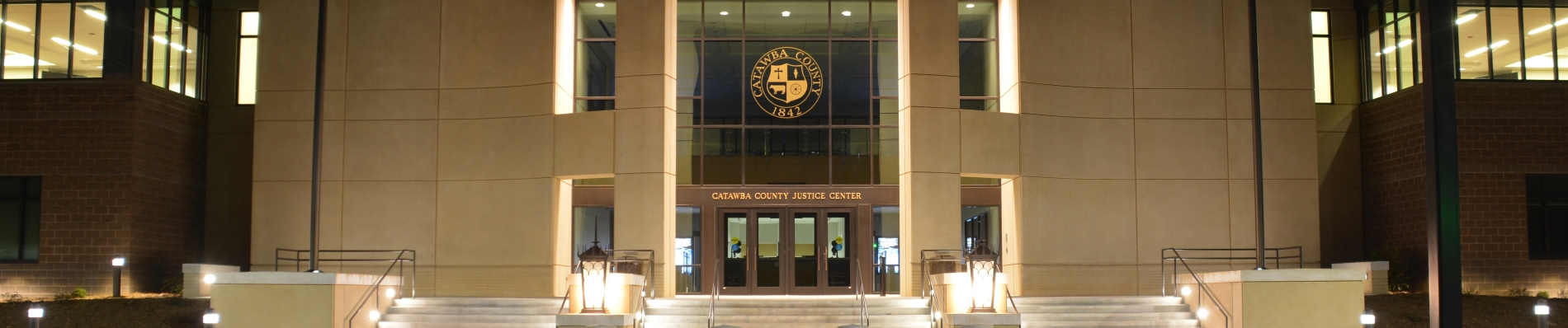 Crop of Newton Justice Center at Night