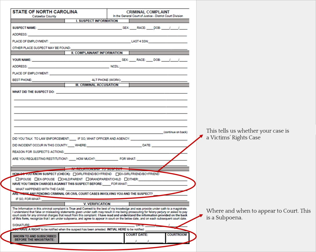 Criminal Complaint Form with Notations